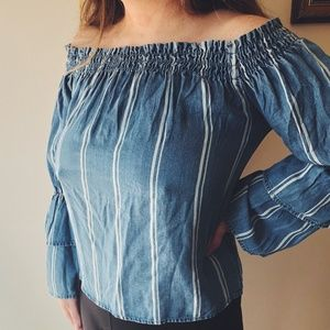 Design Lab Off the Shoulder Double Bell Sleeve